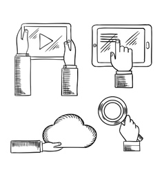 Hands icons with tablets cloud magnifying glass vector