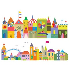 Houses funny banner - fairytale town vector image vector image