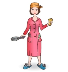 Housewomen with tool Handdraw vector image vector image