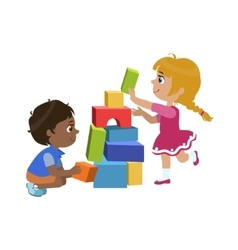 Kids Playing Bricks vector image