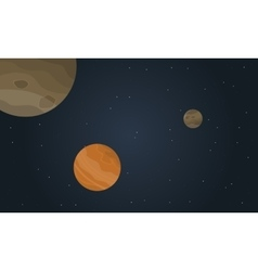 Outer space planet with stars landscape vector
