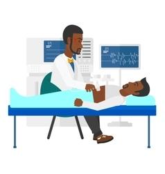 Patient under ultrasound examination vector