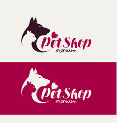 Pet shop or veterinary clinic logo animals dog vector