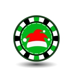 Poker chip christmas new yearcap santa claus red vector