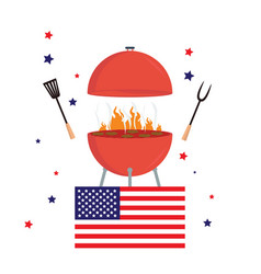 Red barbecue concept flat bbq party grill usa vector