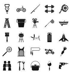 Rig icons set simple style vector