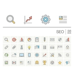 SEO and market analytics color icons vector image
