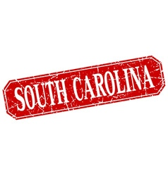South carolina red square grunge retro style sign vector