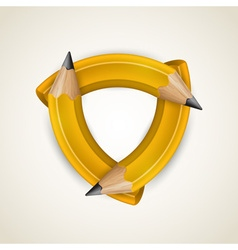 Three curved pencil - corporate symbol vector image vector image