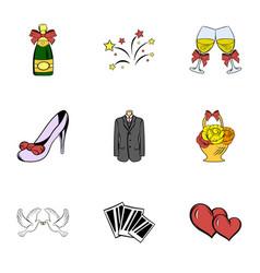 wedding celebration icons set cartoon style vector image vector image