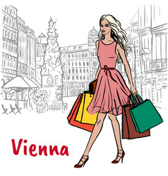 Woman with shopping bags in vienna vector