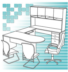 Workplace interior sketch vector