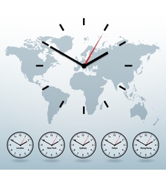 world map and world-time vector image vector image
