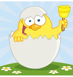 Yellow Chick Ringing A Bell vector image