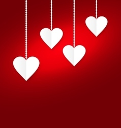 Background of hearts hanging on strings - vector