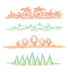 Nature borders with colorful trees vector