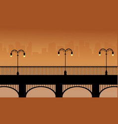 Bridge with street lamp landscape of silhouettes vector