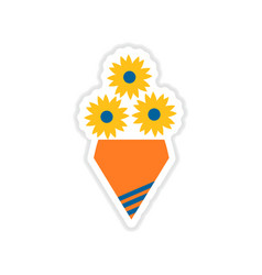 Paper sticker on white background bouquet of vector
