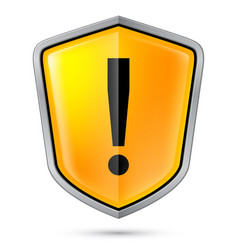 Warning sign icon on shield on white vector
