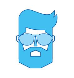 Blue icon man face vector