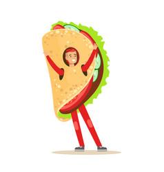 Man wearing mexican fajitas costume fast food vector