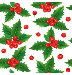 Seamless pattern of holly berries vector