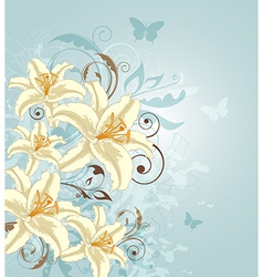 Blue background with flowers vector image
