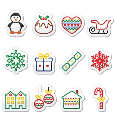 Christmas winter icons with stroke - penguin chr vector