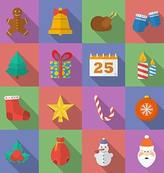 Set of christmas icons flat style vector