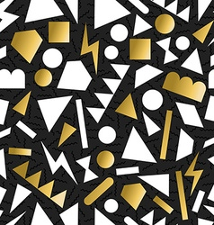 Gold 80s 90s retro seamless pattern background vector