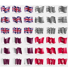 United kingdom brittany qatar isle of man set of vector