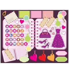 scrapbook elements with letters and clothes vector image