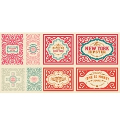 Retro cards set with floral details vector