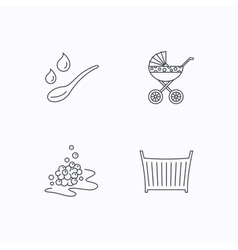 Pram carriage spoon and drops icons vector