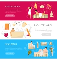 Bath Sauna Spa Horizontal Banners Set vector image