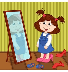 Girl on heels looks in mirror vector
