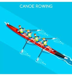 Canoe without coxswain four 2016 summer games 3d vector