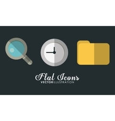 Folder clock and lupe icon office instrument vector