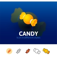 Candy icon in different style vector image