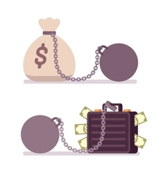 Case and money sack on a metal chain with weight vector