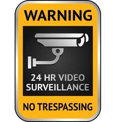 Cctv video surveillance label vector image vector image