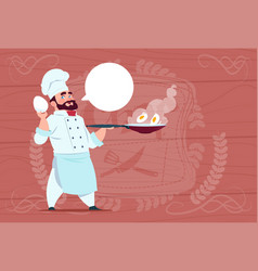 Chef cook holding frying pan with eggs smiling vector