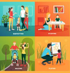 Child nurse family design concept vector