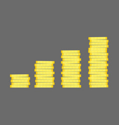 Coins stack gold money icon flat design vector