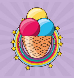 Delicious ice cream over colorful rainbow vector