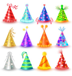 festive caps collection for celebration on white vector image vector image