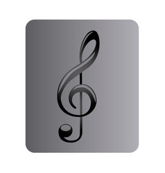 Gray square button with sign music treble clef vector