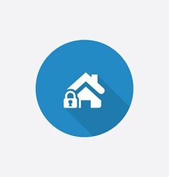 Home lock flat blue simple icon with long shadow vector