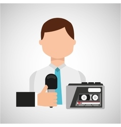Interview news microphone and tape recorder vector