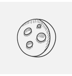 Moon surface with cheese holes sketch icon vector image
